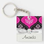 magent pink black white henna damask Double-Sided square acrylic keychain
