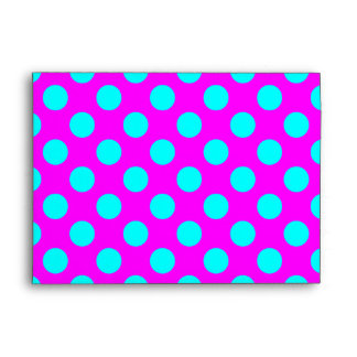 Magenta and Aqua Polka Dots Envelope