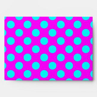 Magenta and Aqua Polka Dots Envelope