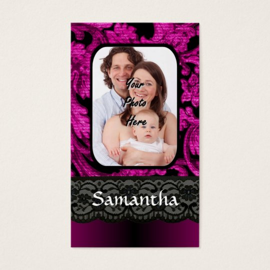 Magenta and black damask business card