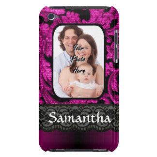 Magenta and black damask iPod Case-Mate case