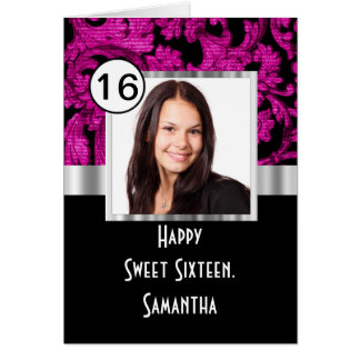 Magenta and black damask sweet sixteen card