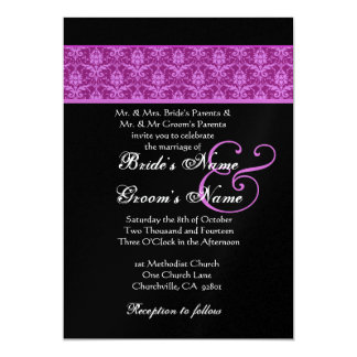 Magenta and Black  Damask Wedding 5x7 Paper Invitation Card