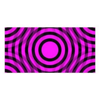 magenta_and_black_interlocking_concentric_circles tarjetas fotograficas personalizadas