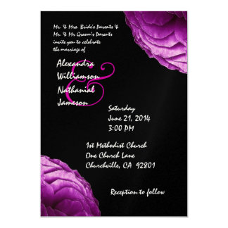 Magenta and Black Modern Roses Wedding Template 5x7 Paper Invitation Card