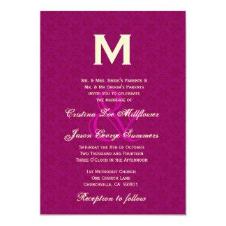 Magenta and Cream Monogram Wedding R433 5x7 Paper Invitation Card