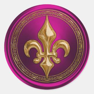 Magenta and Gold Fleur de Lis Envelope Seal Classic Round Sticker