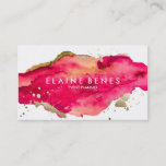 "Magenta and Gold Splatter Business card<br><div class=""desc"">Stylish business card featuring a rich watercolor texture and splatters of gold for a touch of lux</div>"