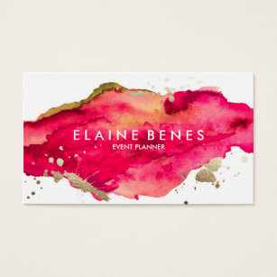 Art business cards 56300 art business card templates magenta and gold splatter business card fbccfo Images