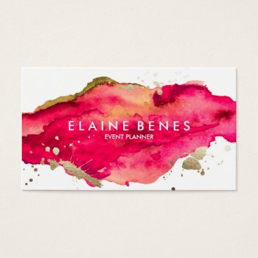 Professional Business Magenta and Gold Splatter Business card