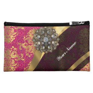 Magenta and gold vintage damask pattern cosmetic bag