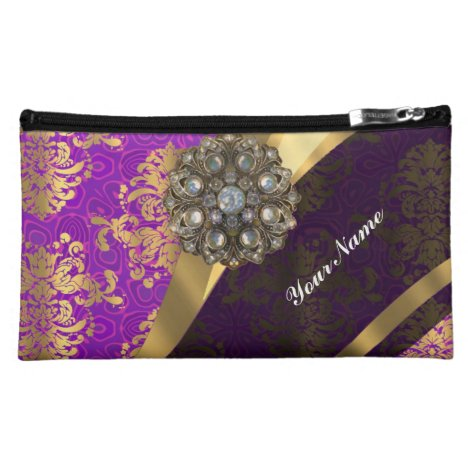 Magenta and gold vintage damask pattern makeup bag