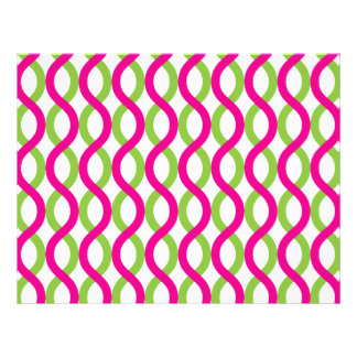 Magenta and Greenl Waves Pattern Letterhead