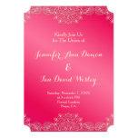 "Magenta and Lace Wedding Invites 5"" X 7"" Invitation Card"