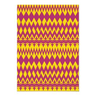 Magenta and Mustard Tribal Pattern Design 5x7 Paper Invitation Card