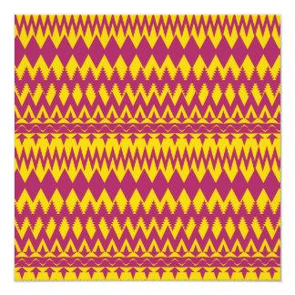 Magenta and Mustard Tribal Pattern Design Invitation