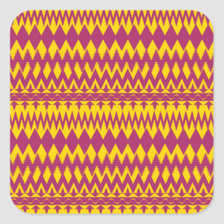 Magenta and Mustard Tribal Pattern Design Square Sticker