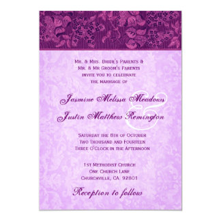 Magenta and Orchid Purple Damask Wedding Template 5x7 Paper Invitation Card