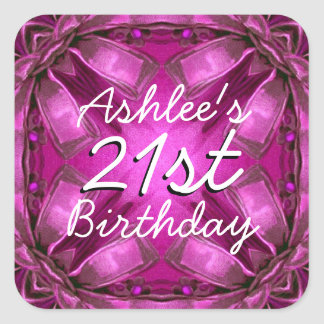 Magenta and Pink Bows 21st Birthday Custom Name V2 Square Sticker