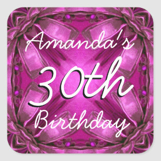 Magenta and Pink Bows 30th  Birthday Custom Name Square Sticker