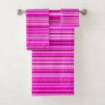 [ Thumbnail: Magenta and Pink Stripes/Lines Pattern Towel Set ]
