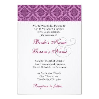 Magenta and Plum Purple Damask Wedding 5x7 Paper Invitation Card