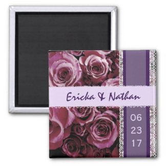 MAGENTA and PURPLE Lace Wedding Rose Bouquet 2 Inch Square Magnet