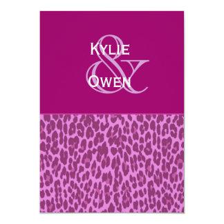 Magenta and Purple Leopard Wedding H545 5x7 Paper Invitation Card