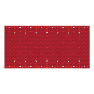 Magenta and Red Christmas Abstract Knitted Pattern Card