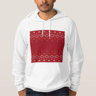 Magenta and Red Christmas Abstract Knitted Pattern Hoodie