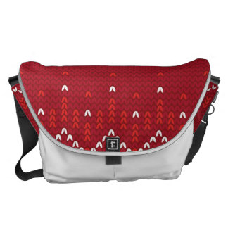 Magenta and Red Christmas Abstract Knitted Pattern Messenger Bag