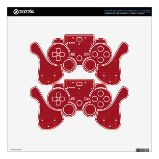 Magenta and Red Christmas Abstract Knitted Pattern PS3 Controller Skin