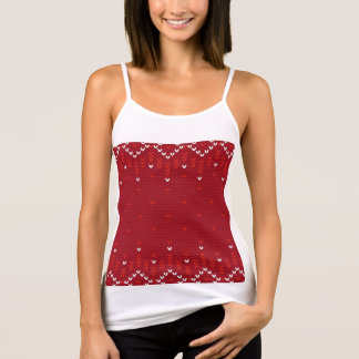 Magenta and Red Christmas Abstract Knitted Pattern Tank Top