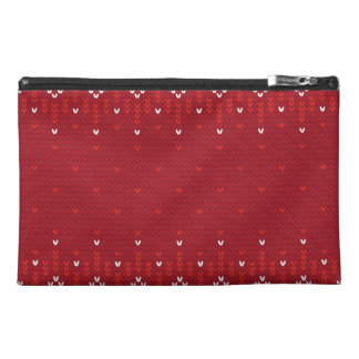 Magenta and Red Christmas Abstract Knitted Pattern Travel Accessory Bag