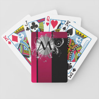 Magenta and silver monogram bicycle playing cards
