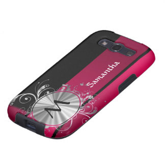 Magenta and silver monogram galaxy SIII covers