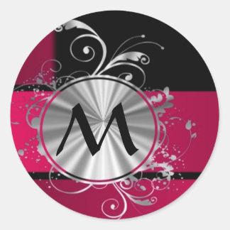 Magenta and silver monogram classic round sticker