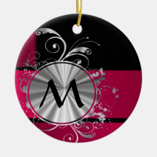 Magenta and silver pattern monogram ceramic ornament