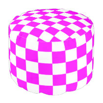 Magenta and White Checked Ottoman