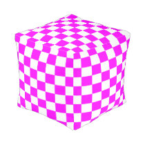 Magenta and White Checkered Ottoman