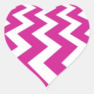 Magenta and White Chevrons Heart Sticker