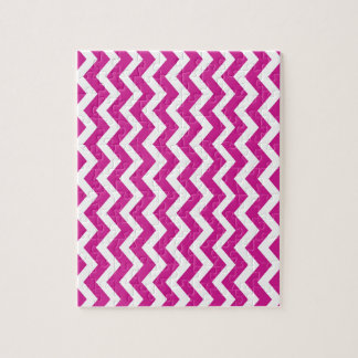 Magenta and White Chevrons Jigsaw Puzzle
