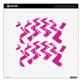 Magenta and White Chevrons PS3 Controller Skins