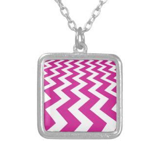 Magenta and White Chevrons Square Pendant Necklace