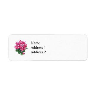 Magenta And White Cyclamen Custom Return Address Label