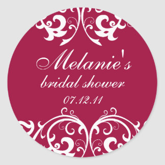 Magenta and White Damask Bridal Shower Sticker