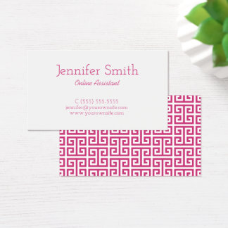 Magenta and White Greek Key Business Card