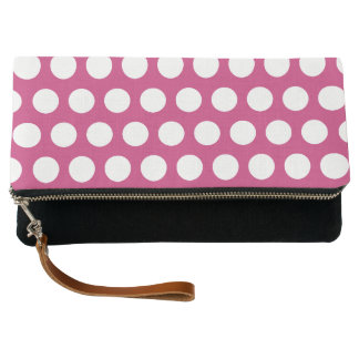 Magenta and White Polka Dot Clutch
