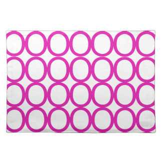 Magenta and White Splash of O's Cloth Placemat
