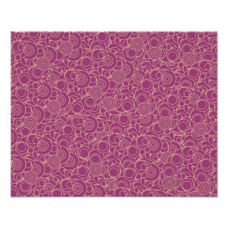 Magenta and Yellow Groovy Circles Poster